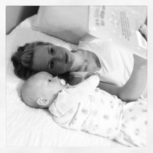 The Patterson's great-grandaughter gets a bedtime story from mommy