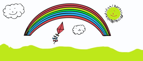 kite, rainbow, sun