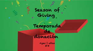 Weekly Themes #19 Season of Giving for 3-5 year olds