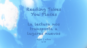 Week 22 Reading Takes You Places Card Ages 6-8