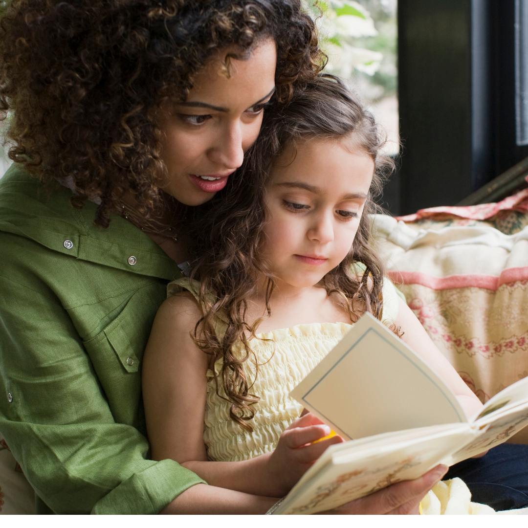 Mother & daughter reading together